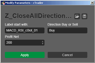 Z Close ALL Direction Label cbots ctrader calgo Buy Robot Trading 340 - 01 - Example 1