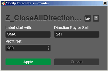 Z Close ALL Direction Label cbots ctrader calgo Sell Robot Trading 340 - 01 - Example 8