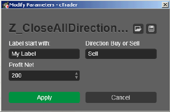 Z Close ALL Direction Label cbots ctrader calgo Sell Robot Trading 340 - 01