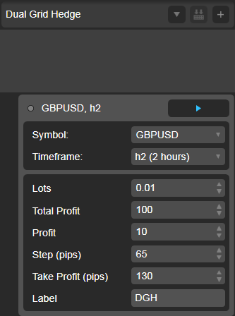 Dual Grid Hedge GBP USD 2h cAlgo cBots cTrader Parameters 1k 100 50 100 - 02