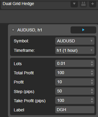 Dual Grid Hedge AUD USD 1h cAlgo cBots cTrader Parameters 1k 100 50 100 - 01