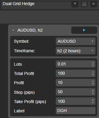 Dual Grid Hedge AUD USD 2h cAlgo cBots cTrader Parameters 1k 100 50 100 - 02