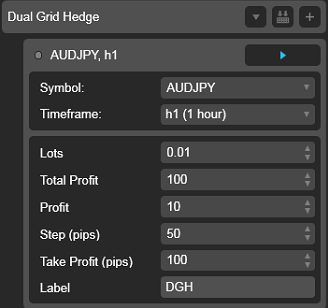 Dual Grid Hedge AUD JPY 1h cAlgo cBots cTrader Parameters 1k 100 50 100 - 01