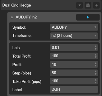 Dual Grid Hedge AUD JPY 2h cAlgo cBots cTrader Parameters 1k 100 50 100 - 02