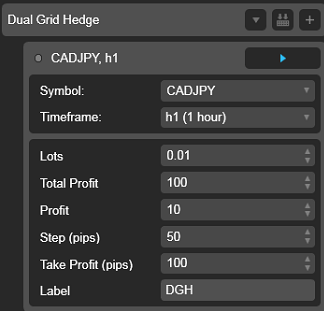Dual Grid Hedge CAD JPY 1h cAlgo cBots cTrader Parameters 1k 100 50 100 - 01