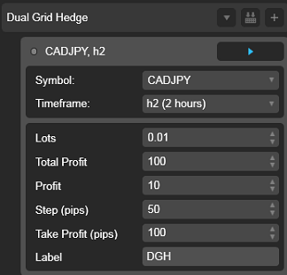 Dual Grid Hedge CAD JPY 2h cAlgo cBots cTrader Parameters 1k 100 50 100 - 02