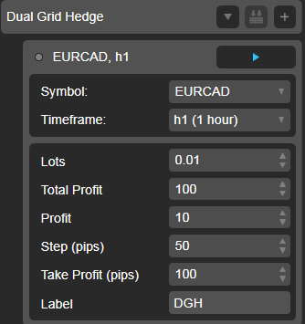 Dual Grid Hedge EURCAD 1h cAlgo cBots cTrader Parameters 1k 100 50 100 - 01