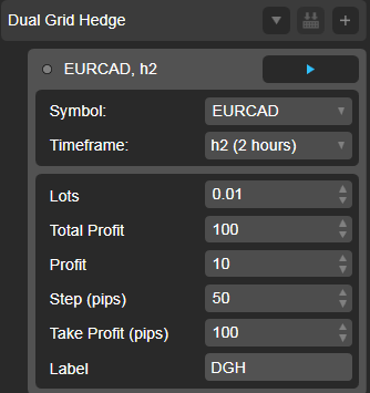 Dual Grid Hedge EUR CAD 2h cAlgo cBots cTrader Parameters 1k 100 50 100 - 02