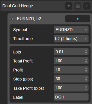 Dual Grid Hedge EUR NZD1h cAlgo cBots cTrader Parameters 1k 100 50 100 - 02